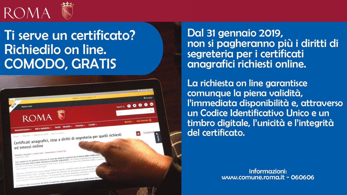 roma capitale sito istituzionale certificati On roma capitale servizi online